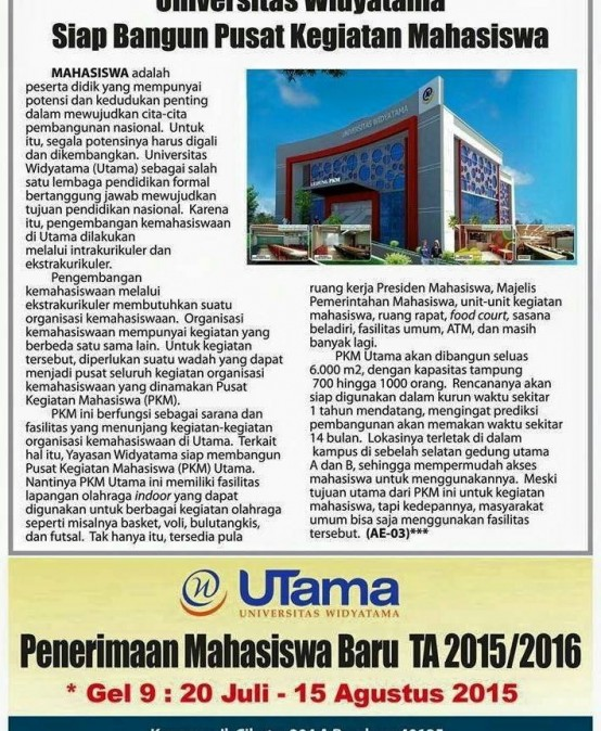 Universitas Widyatama Siap Bangun Pusat Kegiatan Mahasiswa