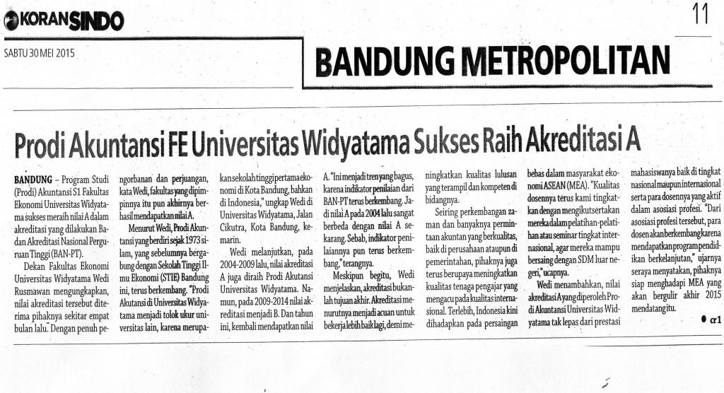 Program Studi Akuntansi S1 Universitas Widyatama dapat mempertahankan Eksistensinya