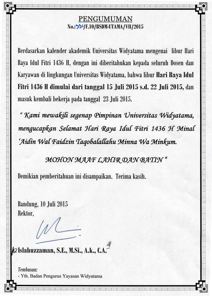 Pengumuman Libur Hari Raya Universitas Widyatama