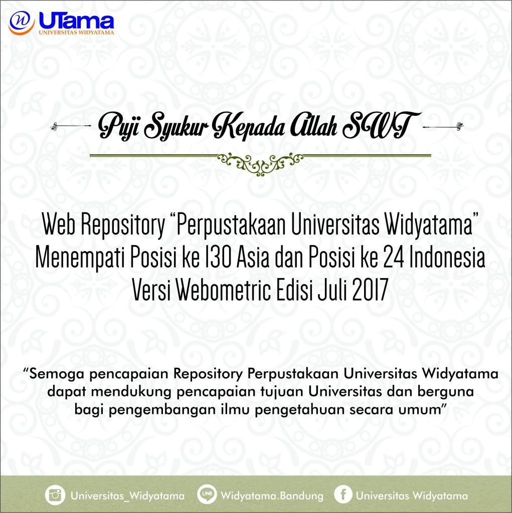 Repository Universitas Widyatama Raih Peringkat 130 Asia dan 24 Indonesia