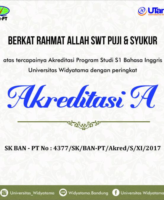 Program Studi S1 Bahasa Inggris Universitas Widyatama Berhasil Meraih Akreditasi A
