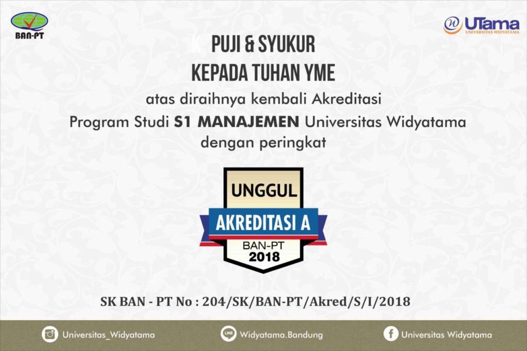 """Program Studi S1 Manajemen Universitas Widyatama Kembali Meraih Akreditasi """"A"""""""