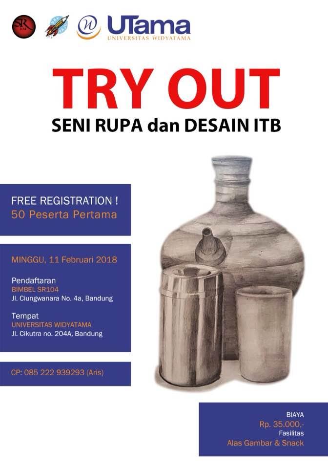 Fakultas Desain Komunikasi Visual Widyatama bekerjasama dengan SR104 kembali akan mengadakan program Try Out Test Masuk FSRD ITB, tanggal 11 Februari 2018.