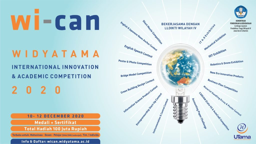 Wican Universitas Widyatama 2020 1024x576 - Universitas Widyatama Didukung Disdik Jabar Adakan Lomba Inovasi Untuk Jenjang SMA, SMK & MA Pada Ajang Internasional