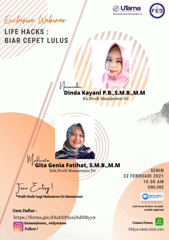"D3 Management Program Webinar ""Life Hacks: Biar Cepet Lulus"""