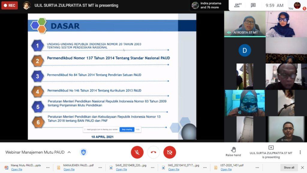 Program Studi Prodi Teknik Informatika Universitas Widyatama UTama Bandung menggelar kegiatan Pengabdian Kepada Masyarakat PkM 3 1024x578 - Bantu Mengembangkan Manajemen Mutu PAUD di Jabar Berbasis IT Prodi Teknik Informatika UTama Adakan Webinar