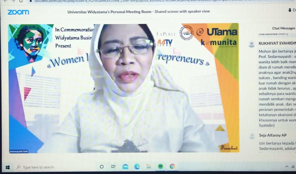 """WIBI Webinar Hari Kartini 2021 Universitas Widyatama 1 1024x604 - Peringati Hari Kartini Webinar """"Women Leaders And Entrepreneur"""" WIBI Merangsang Lebih Banyak Pengusaha Wanita Mandiri"""