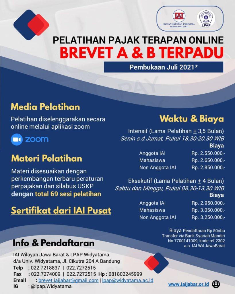 Pelatihan Pajak Terapan Online Brevet A & B Terpadu (Pembukaan Juli 2021)